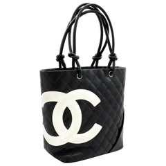 CHANEL Cambon Tote Small Shoulder Bag Black White Quilted Calfskin Leather