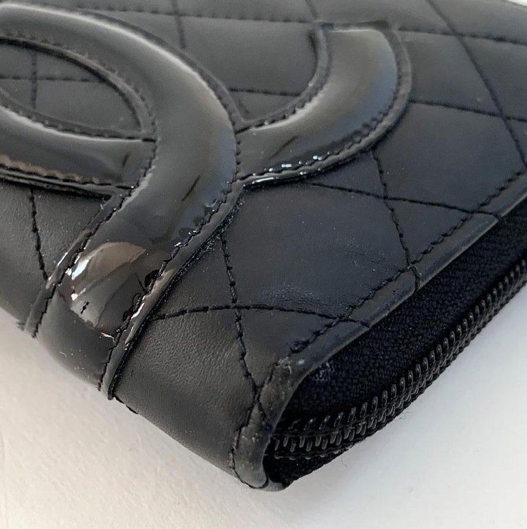 Women's CHANEL Cambon Wallet In Black Quilted Mate Leather For Sale