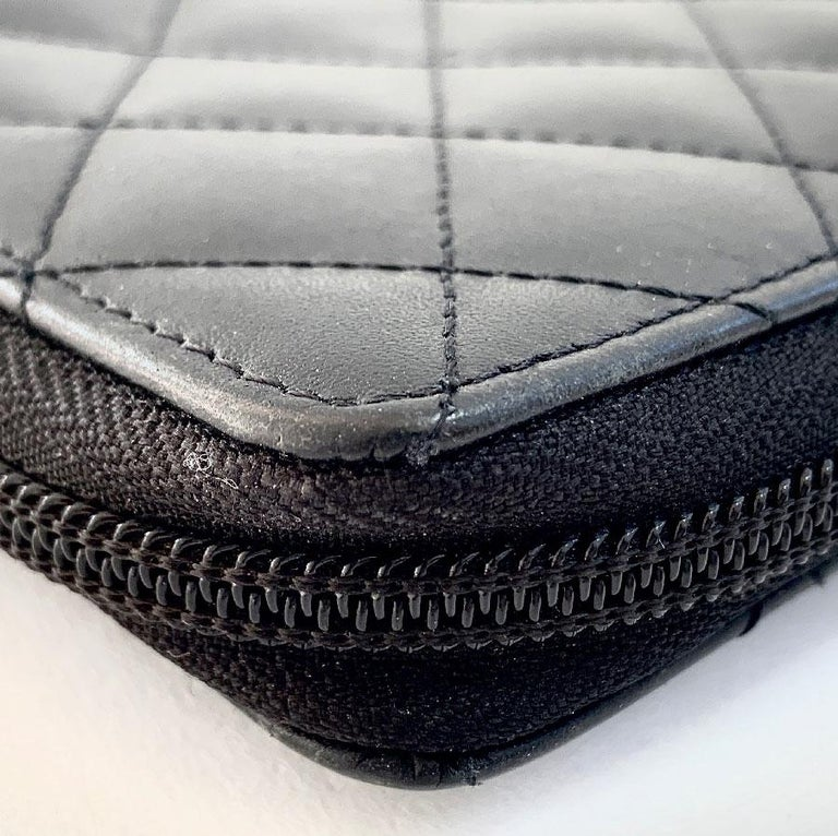 CHANEL Cambon Wallet In Black Quilted Mate Leather For Sale 2