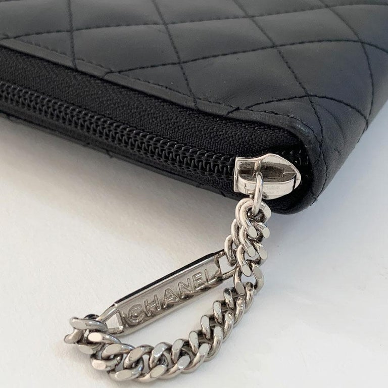 CHANEL Cambon Wallet In Black Quilted Mate Leather For Sale 3
