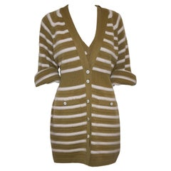Chanel Camel and Ivory Cashmere Striped Twin Set