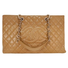 Chanel Camel Caviar Leather XL Grand Shopping Tote