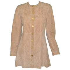 Chanel Camel Suede Jacket with Gold Buttons