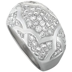 Chanel Camélia 1.75 Carat Diamond Pave 18 Karat White Gold Band Ring