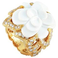 Chanel Camélia 18 Karat Yellow Gold and Ceramic, 3.00 Carat Diamond Flower Ring