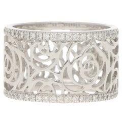 Chanel Camélia Ajoure Diamond Eternity Band Ring Set in 18 Karat White Gold