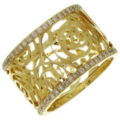Chanel Camelia Ajoure Rose Diamond Yellow Gold Band Ring