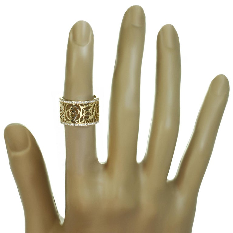 Brilliant Cut Chanel Camelia Ajoure Rose Diamond Yellow Gold Band Ring For Sale