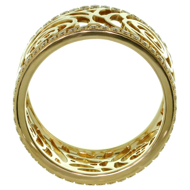 Chanel Camelia Ajoure Rose Diamond Yellow Gold Band Ring For Sale 1