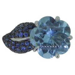 Chanel Camelia Aquamarine and Sapphire Flower 18 Karat White Gold Ring