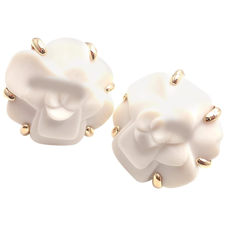 1f228747b4f2e1 Chanel Camelia Camellia Flower White Agate Yellow Gold Earrings For Sale