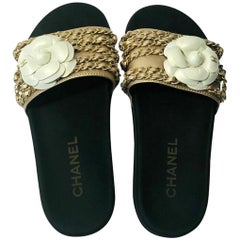 Chanel Camelia Chain Slides Sandals - Gold Leather with Chain detail