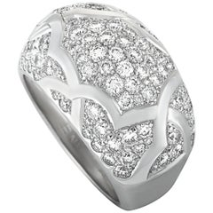 Chanel Camélia Diamond Pave White Gold Band Ring
