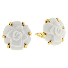 Chanel Camelia Flower White Agate Yellow Gold Earrings