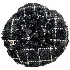 CHANEL Camelia Tweed Brooch
