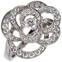Chanel Camelia White Gold Diamond Cocktail Ring