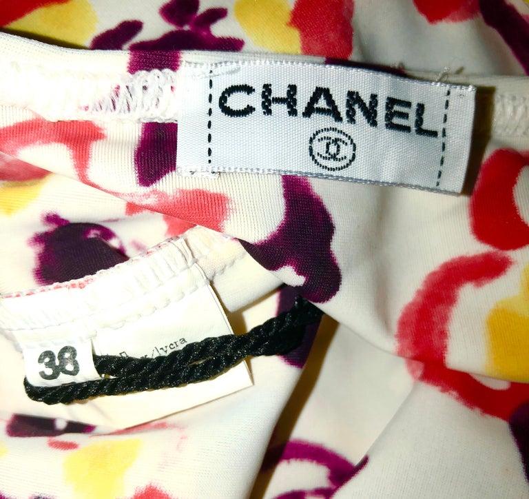 Chanel Camellia CC Logo Print Top Hot Pants Bikini Swimsuit Beach Set Ensemble For Sale 1