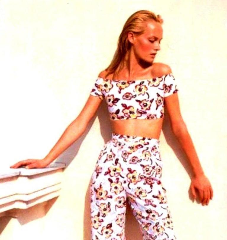 Chanel Camellia CC Logo Print Top Hot Pants Bikini Swimsuit Beach Set Ensemble For Sale 5