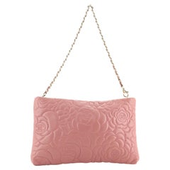 Chanel Camellia Chain Clutch Embossed Leather