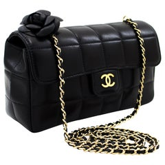 CHANEL Camellia Chocolate Bar Chain Shoulder Bag Black Quilted Leather