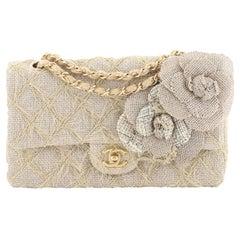 Chanel Camellia Classic Single Flap Bag Quilted Burlap Medium