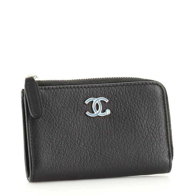 Black Chanel Camellia Coin Purse Goatskin For Sale