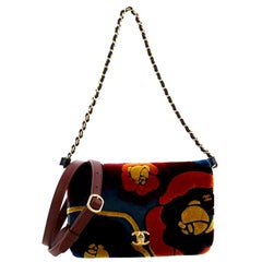 Chanel Camellia Compartment Flap Bag Velvet with Leather Small
