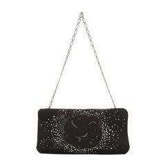 Chanel Camellia Diamante Convertible Clutch Crystal Embellished Satin Sma
