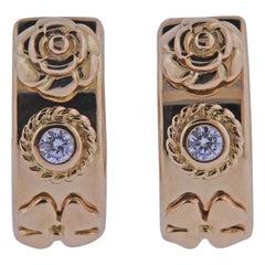 Chanel Camellia Diamond Gold Hoop Earrings