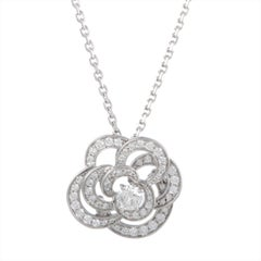 Chanel Camellia Diamond Pave Gold Flower Pendant Necklace