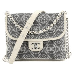 Chanel Camellia Double Side Flap Bag Quilted Printed Canvas