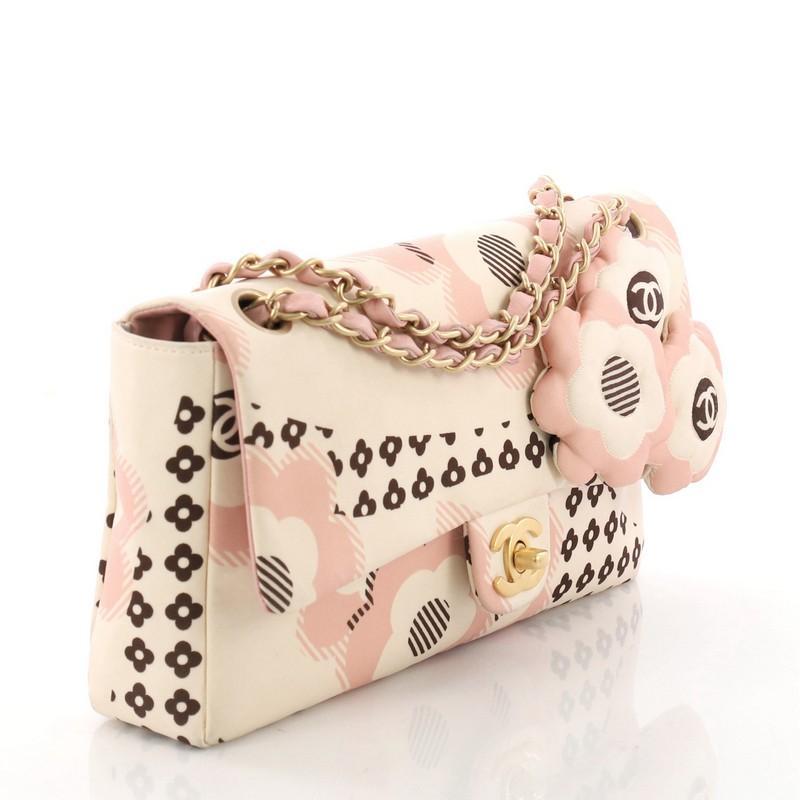 11ae523d42949e Chanel Camellia Flap Bag Printed Satin Medium at 1stdibs