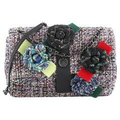 Chanel Camellia Flap Shoulder Bag Tweed Medium