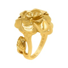 Chanel Camellia Flower Motif 18 Karat Yellow Gold Cocktail Ring