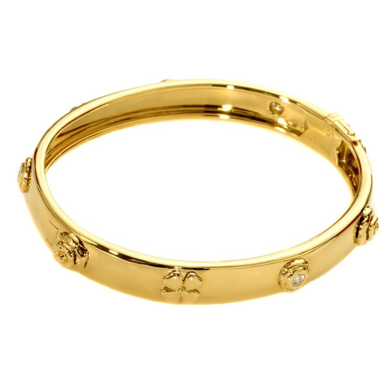 Chanel Camellia Gold Diamond Bangle Bracelet In Excellent Condition For Sale In Feasterville, PA