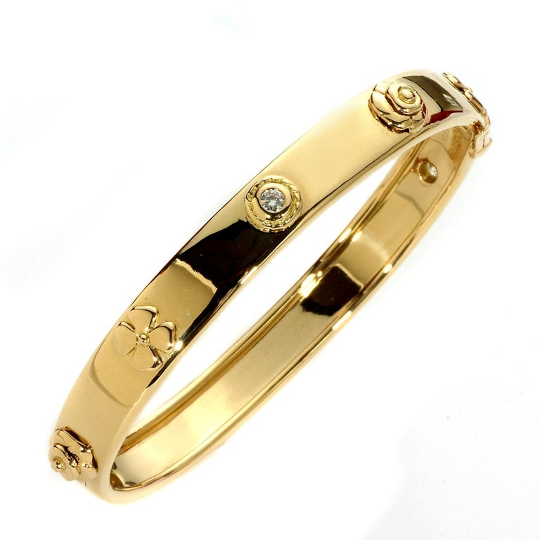 Women's Chanel Camellia Gold Diamond Bangle Bracelet For Sale