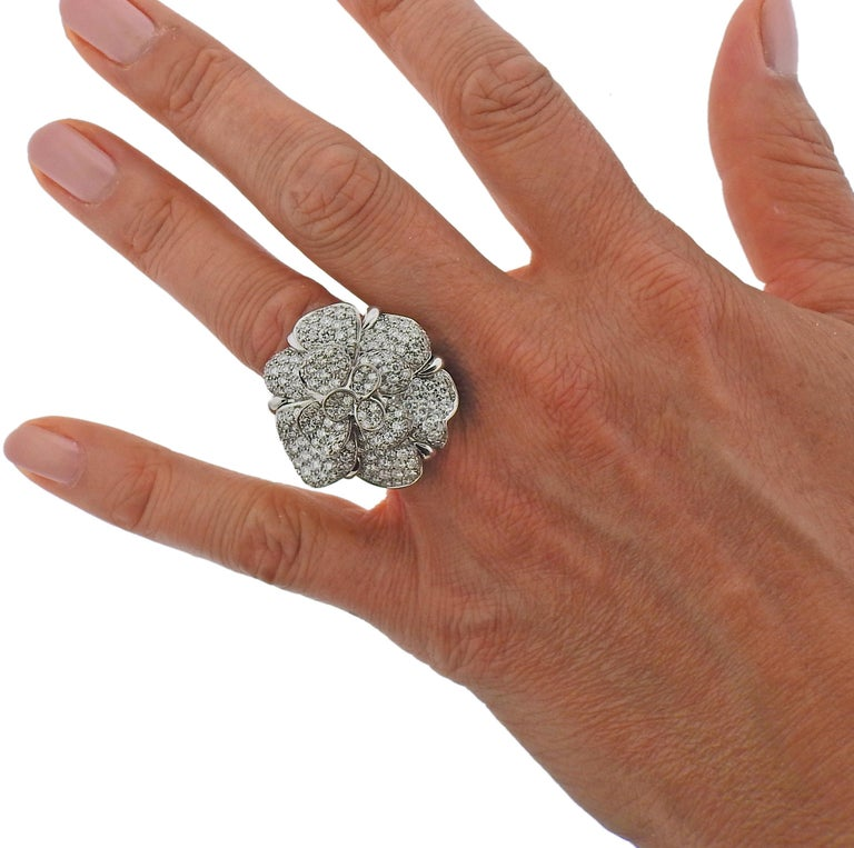 Women's Chanel Camellia Large Diamond Gold Flower Ring For Sale