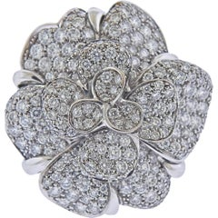 Chanel Camellia Large Diamond Gold Flower Ring