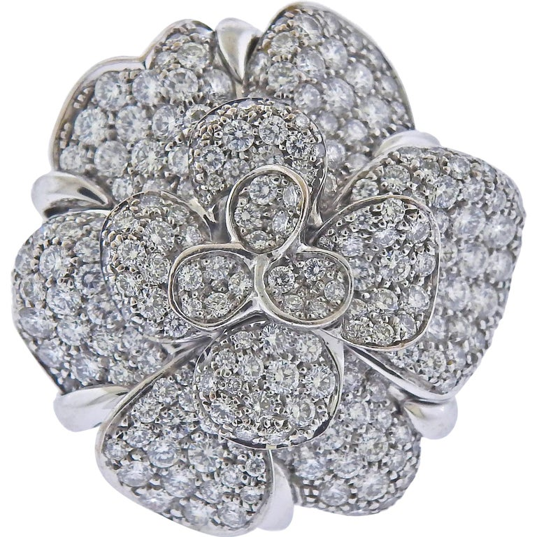 Chanel Camellia Large Diamond Gold Flower Ring For Sale