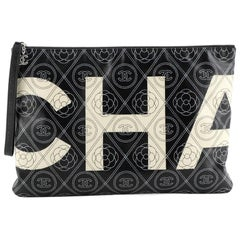 Chanel Camellia Logo Wristlet Clutch Printed Coated Canvas Large
