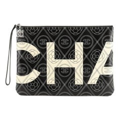 Chanel Camellia Logo Wristlet Clutch Printed Coated Canvas Medium