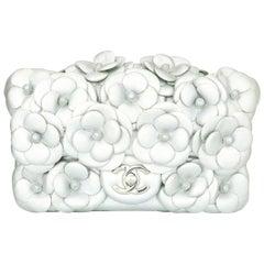 CHANEL Camellia Mini Flap Bag Metallic Silver Lambskin with Silver Hardware 2016