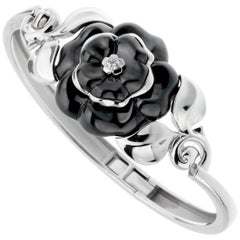 Chanel Camellia Onyx Diamond White Gold Bangle Bracelet