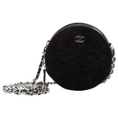 Chanel Camellia Round Clutch with Chain Velvet