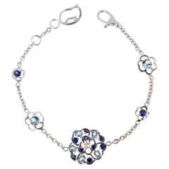 Chanel Camellia Sapphire Diamond White Gold Bracelet