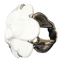 Chanel Camellia White Agate Gold Ring