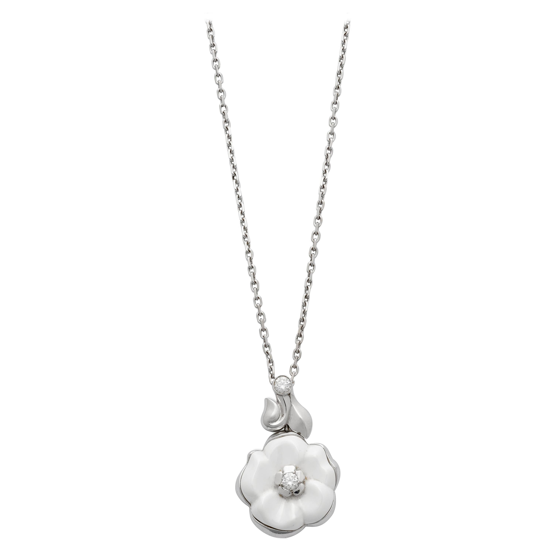 Chanel Camellia White Ceramic Diamond White Gold Necklace