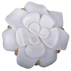 Chanel Camellia White Onyx Yellow Gold Brooch