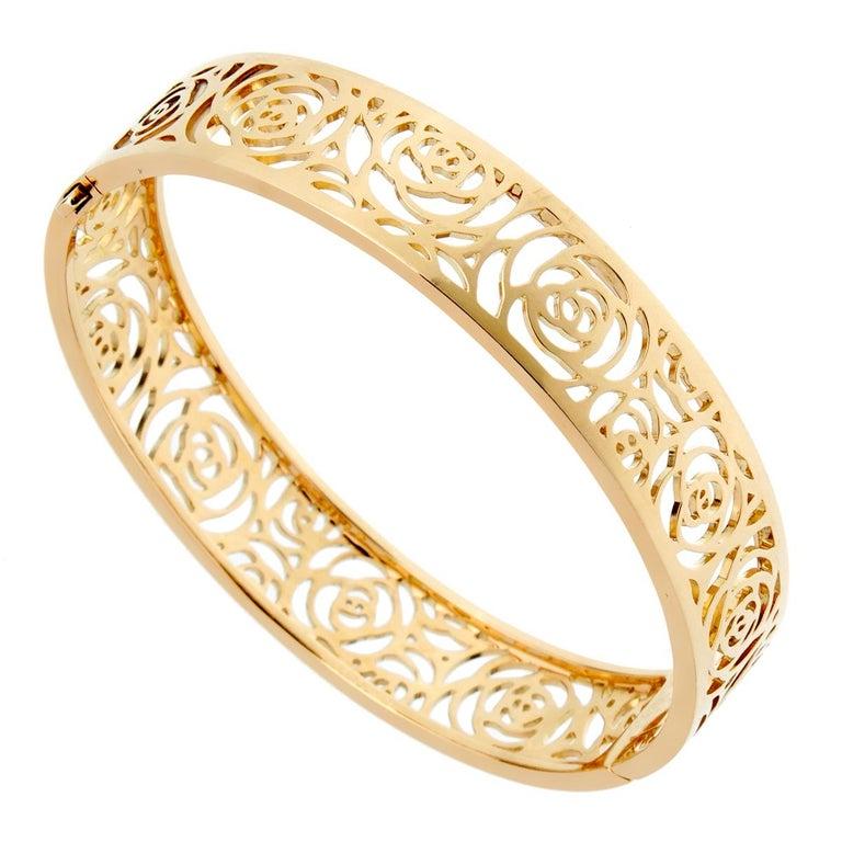 Women's Chanel Camellia Yellow Gold Ajoure Bracelet For Sale