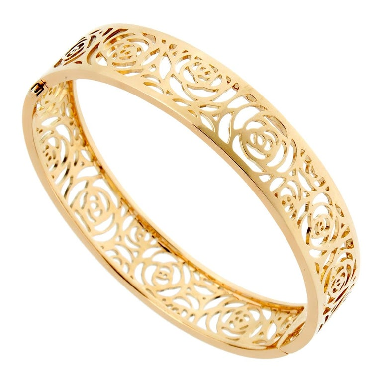 Chanel Camellia Yellow Gold Ajoure Bracelet For Sale